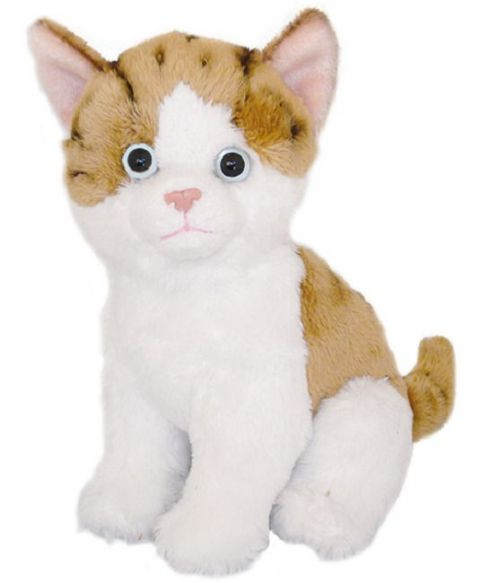 Ginger Cat Kitten sitting Cuddly pocket toy 6.5""